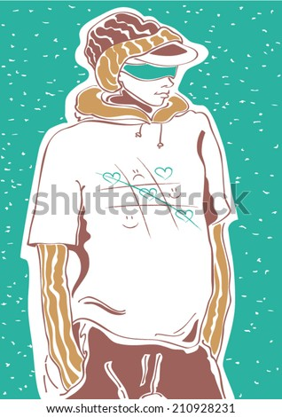 Street fashion sketch with a cool boy with lovely tic-tac-toe t-shirt design - stock vector