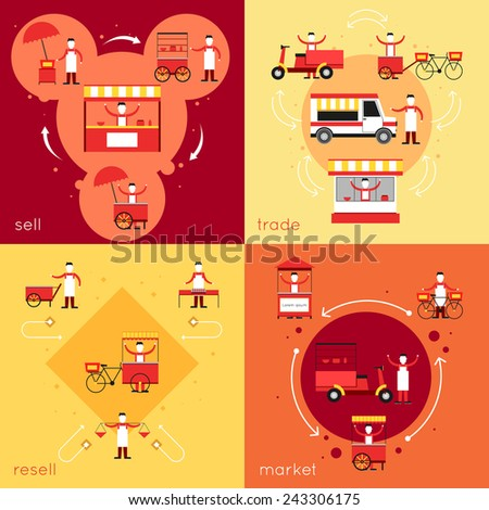 Street fast food flat icons set with resell sell market trade isolated vector illustration - stock vector