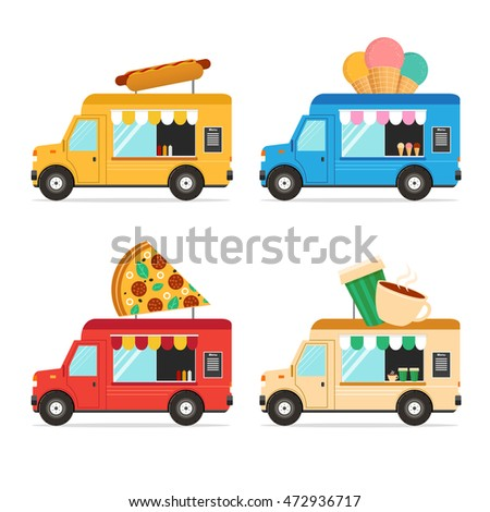 Street fast food truck set flat stock vector 472936717 for Food truck design app