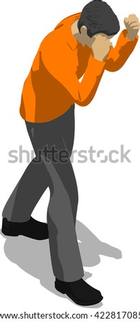 Street fighter blocking the hit. Young thin man in orange shirt. 3d flat isometric. - stock vector