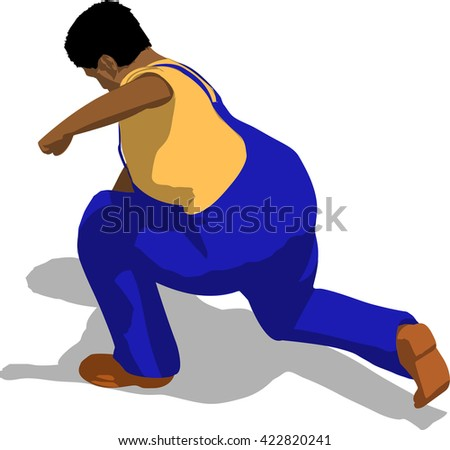 Street fighter hitting with a fist to head. African fat man in a blue overalls and a yellow t-shirt. 3d flat isometric.