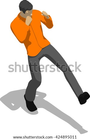 Street fighter kicking with a leg to leg. Young thin man in orange shirt. 3d flat isometric.