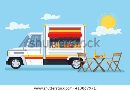 Street food car. Vector flat cartoon illustration - stock vector