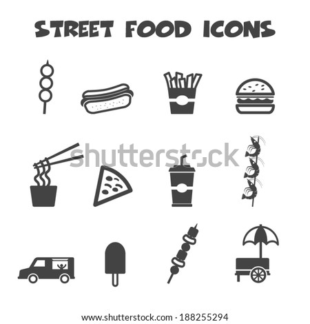 street food icons mono vector symbols stock vector royalty free