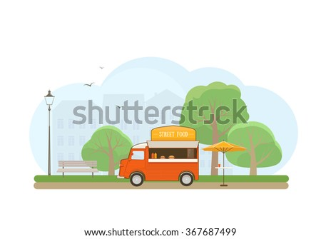 Street Food Truck in City Park. Flat Style Illustration. - stock vector