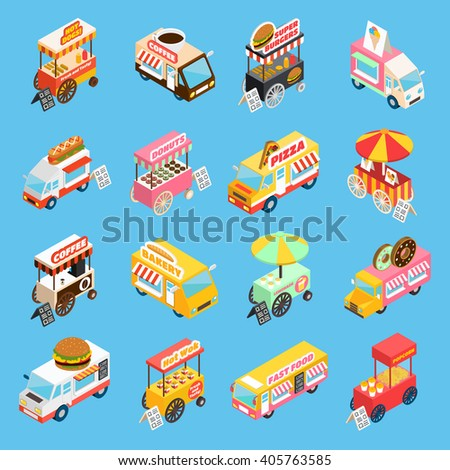 Street food trucks and carts selling hot dogs and wok dishes isometric icons set abstract isolated vector illustration  - stock vector