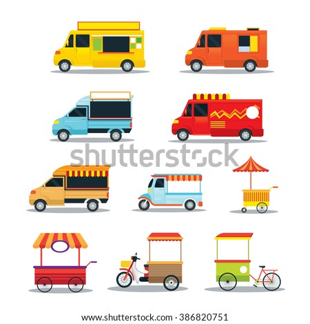 Street Food Vehicles, Truck, Van, Pushcart, Color Set
