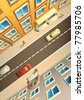 Street in a city, view from above, houses, people and cars, vector illustration - stock