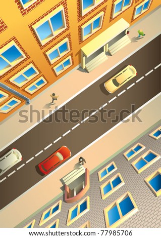 Street in a city, view from above, houses, people and cars, vector illustration - stock vector