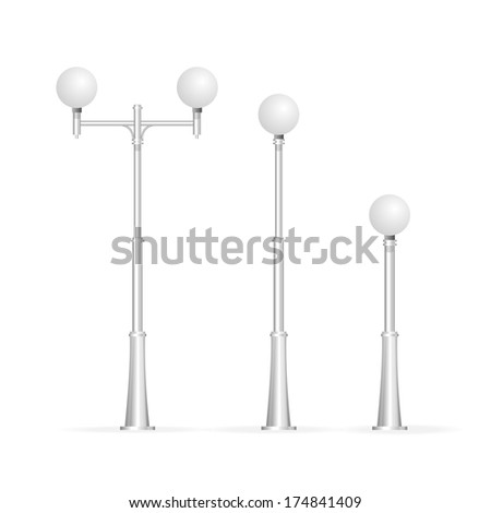 Street lamp isolated on white, electricity - stock vector