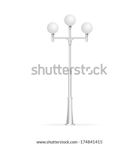 Street lamp isolated on white, electricity