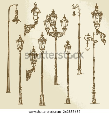 Street lamp set - stock vector