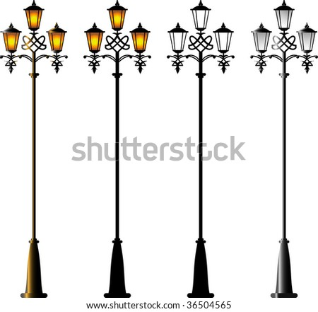 Street Lamps. Isolated on white