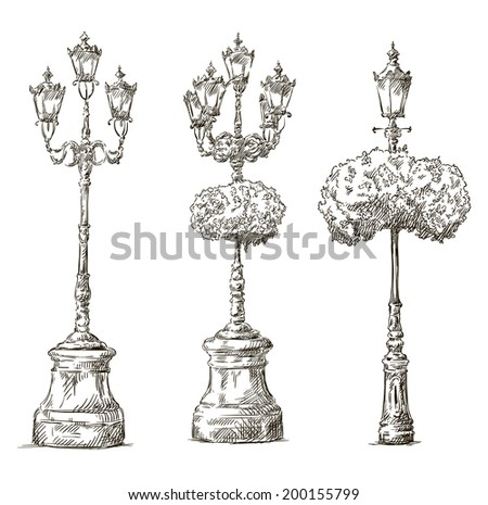 street lamps. Lamp posts drawings. Sketch. Freehand.  - stock vector