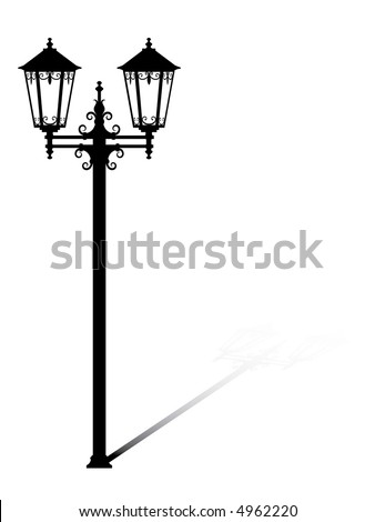 Street lantern from the forged metal-accurate drawing sketch of editable modules - stock vector