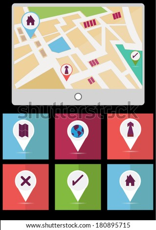 Street Map with GPS Icons. Navigation - stock vector