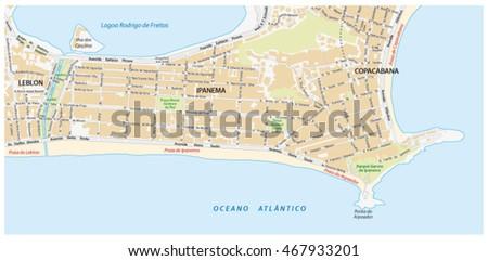 Street Map Names Ipanema District Rio Stock Vector 467933201