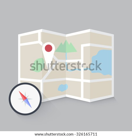 street map with navigation - stock vector