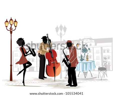 Street musicians with a saxophone and contrabass on the background of a street cafe - stock vector