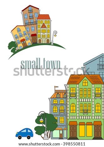 street of a small town, the stone blocks of flats, urban scene, vector illustration - stock vector