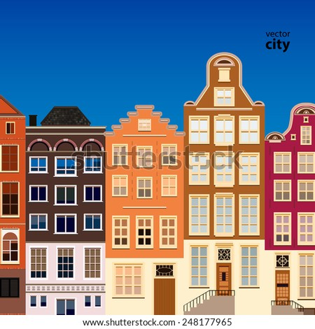 Street of abstract old houses. Vector background. - stock vector