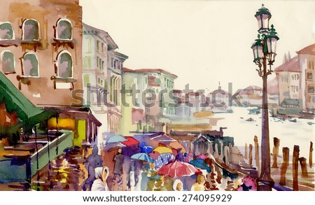 Street of Old autumn city made in watercolor style vector illustration - stock vector