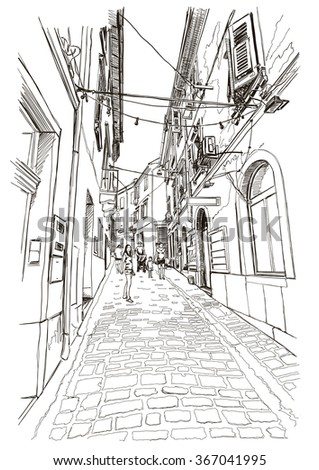 Street of old Mediterranean town Piran, Slovenia. Vector drawing. - stock vector