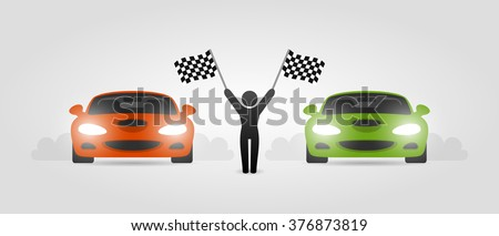Street racing cars and girl with race flags - stock vector