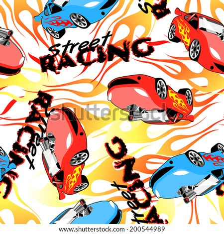 Street racing seamless pattern on a white background. - stock vector