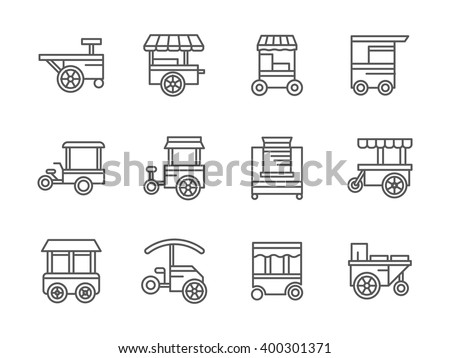 Street retail and wheel market. Trade cart. Street food kiosk and trolley. Collection of black line style vector icons. Elements for web design and mobile. - stock vector