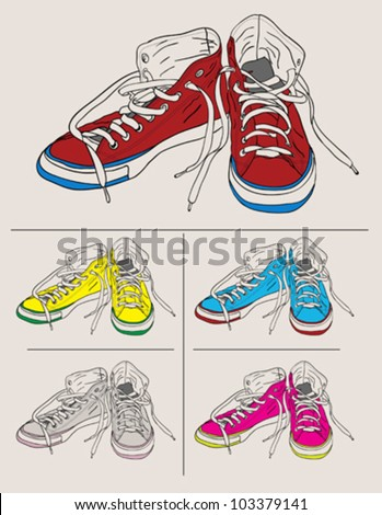 Street Shoes - stock vector