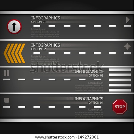 Street & Sign Infographics Design Template - stock vector