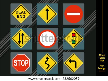 Street Signs Icon Set - stock vector