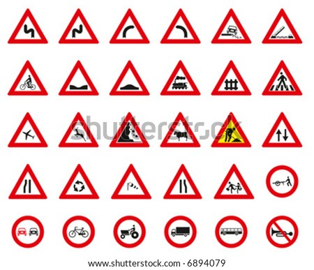 Street Signs vector set, 30 Signs - stock vector