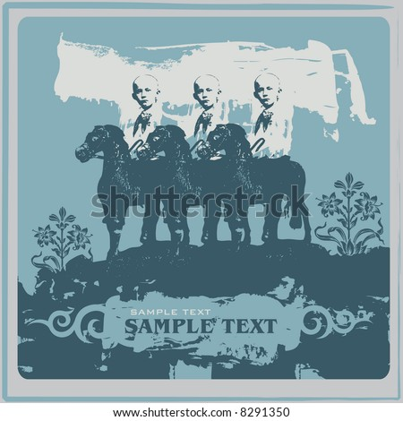 street style vector grunge background with horsemen, CD cover - stock vector