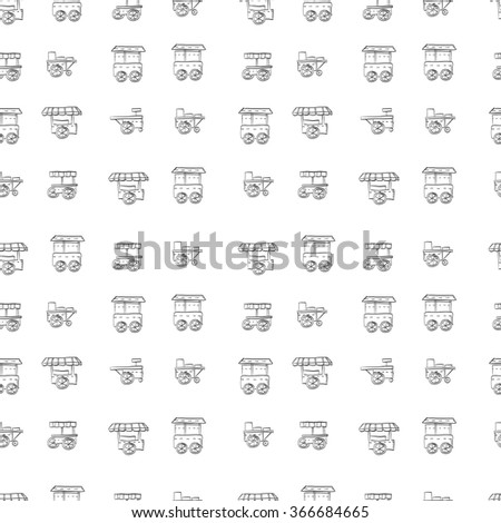 Street trade trolleys seamless vector pattern hand drawn style. Sale of fast food, coffee shop, stores. Sketch vector background. Doodle design elements. - stock vector