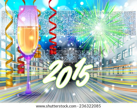 Street view in New Years eve - stock vector