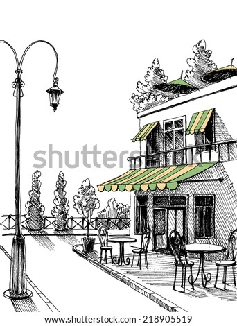 Street view of a retro city restaurant terrace, vector sketch - stock vector