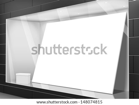 Street view of shopping showcase with empty white board and gift box - stock vector