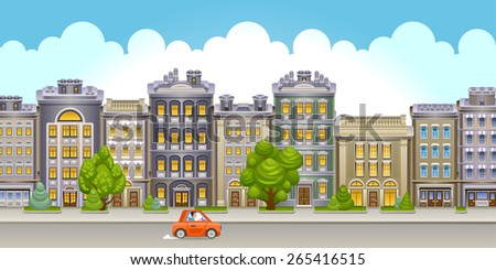 Street  view with buildings. Vector Illustration of small town main street with buildings, trees, clouds and red car. Eps 10.