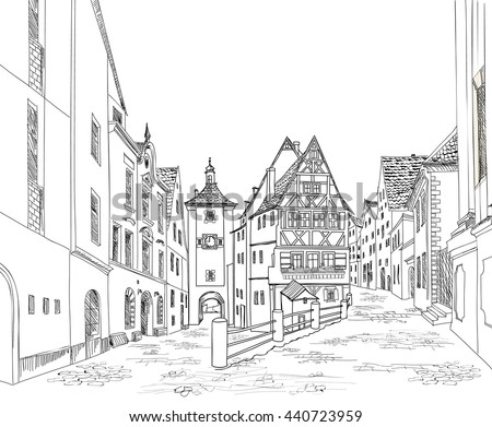 Street with buildings and cafe in old city. Cityscape - houses, buildings on alleyway. Old city view. Medieval european castle landscape. Urban landscape illustration. Drawn vector sketch