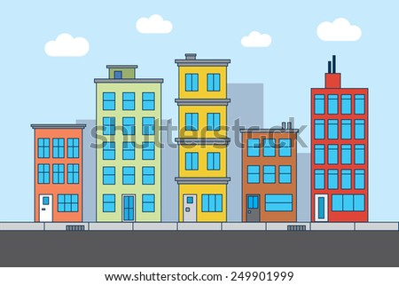 Street with houses in different architectural styles and colours. Lots of details. - stock vector