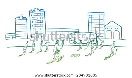 street with office workers on the square, business concept - stock vector