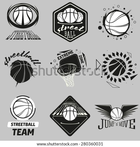 Streetball and basketball icon labels. Logo set with ball and basket in modern and vintage styles - stock vector - stock vector