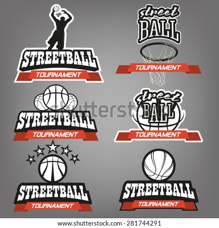 Streetball tournament icon logo set. Streetball labels with ball and basket in modern and vintage styles - stock vector - stock vector