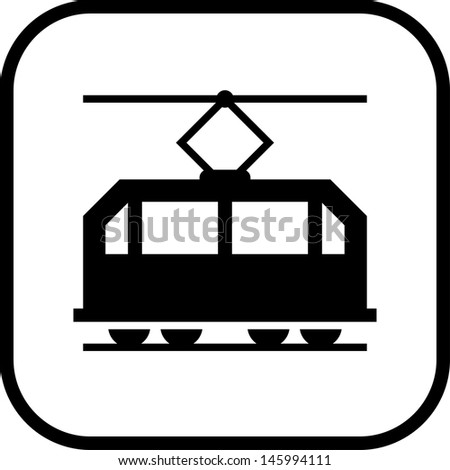 Streetcar tram Vector icon isolated - stock vector