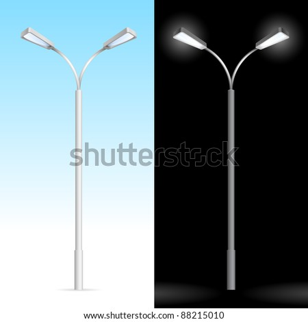 Streetlight. Illustration on blue and black background - stock vector