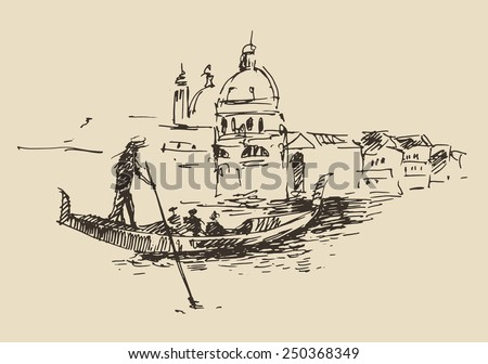 Streets in Venice (Italy) with gondola, vintage engraved illustration, hand drawn - stock vector