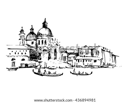 Streets in Venice with gondola, hand drawn vintage illustration on white background. - stock vector