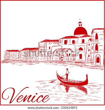 Streets in Venice with gondola, vintage engraved illustration, hand drawn - stock vector
